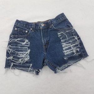 Vintage Levis Shorts 5 27 4 Blue Cut Off Frayed Di
